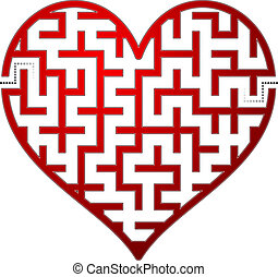 Heart maze. Vector illustration.