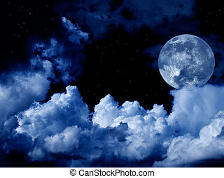 Lleno, nubes, estrellas, luna