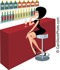 Young woman sits at a bar counter