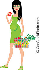 Pregnant woman buys fruit