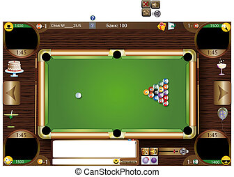 billiards game, vector, billiard balls, billiard table,...