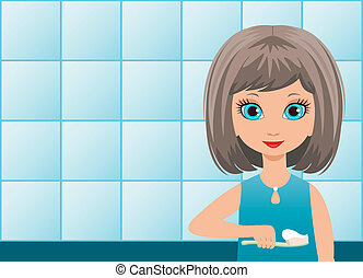 Girl brushes teeth in a bathroom