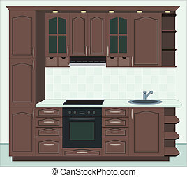 Kitchen furniture. Interior of kitchen