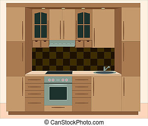 Kitchen furniture. Interiors