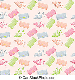 Seamless bags and shoes pattern