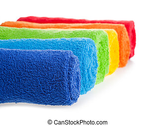 Color terry towels braided by roll