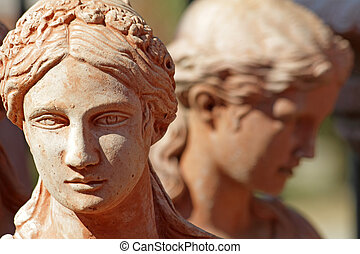 pottery female face