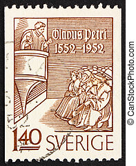 Postage stamp Sweden 1952 Olaus Petri Preaching - SWEDEN -...