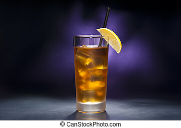 Long Island Iced tea in front of purple background