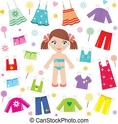 papel, boneca, roupas, jogo