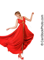 Dancing woman in red dress
