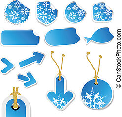 Vector winter stickers and tags