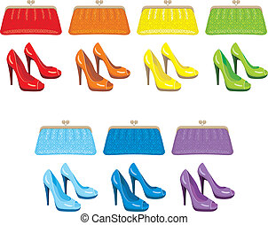 Female bag and shoes Colors of a rainbow