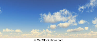 Blue sky with fluffy white clouds. Wide format.