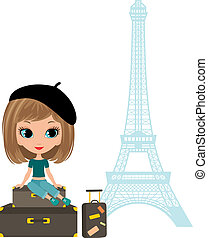 Pretty girl sits on a suitcase against Tour d'Eiffel.