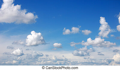 blue sky with cumulous clouds