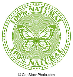 100% natural stamp - The vector image of a 100% natural...