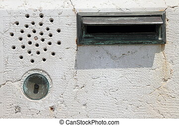 vintage intercom - door bell intercom and mail slot on...