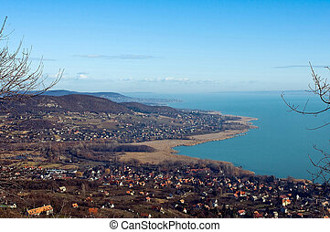 View of lake Balaton in wintertime - Panoramic view of lake...
