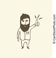 bearded man showing thumb up