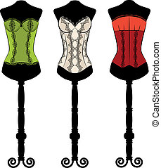 corsets with ornament - Vintage corsets with beautiful...