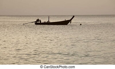 Fisher boat. - Fisher bot in the ocean. Phuket, Thailand.