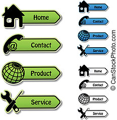 Vector banners - home, contact, product, service