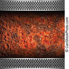 Background with rusted metal texture, vector