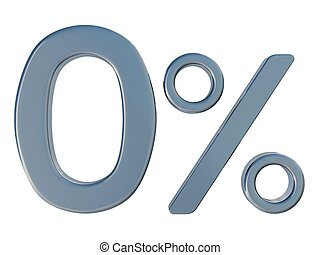 Zero of percent - Symbol of zero percent on a white...