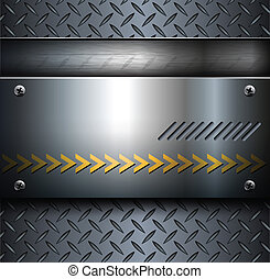 Technology background, metallic with diamond plate texture.