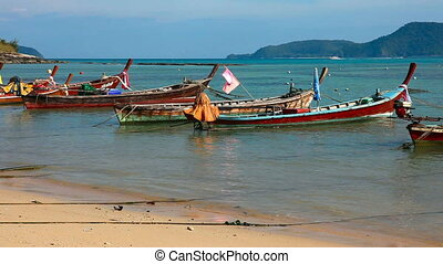 Fisher boats. - Fisher boats in the ocean. Phuket, Thailand.