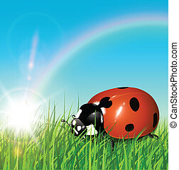 Spring background with ladybug, sun and rainbow, vector.
