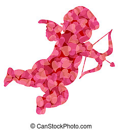 Valentines Day Cupid with Pink Pattern Hearts Illustration -...