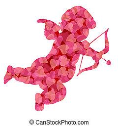 Valentines, día, cupido, rosa, patrón,...