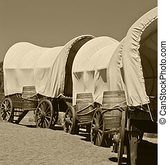 wagon train - wagons that cowboys would have used to get...