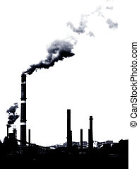 Pollution smoke - Contrast concept of global warming in bw...