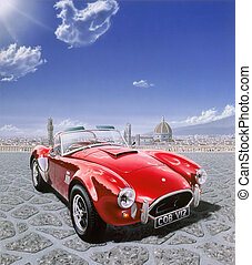 AC Cobra car, in Michelangelo Square in Florence, Italy With...