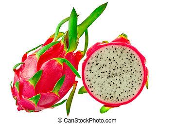 Pitahaya, dragon fruit isolated on white background