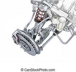 Multi link front car suspension, with brake. perspective...