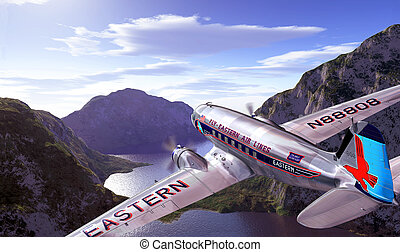 DC3 flying over mountains and lake, with blue sky and clouds...