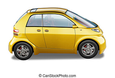 Yellow modern generic small city car. On white background,...