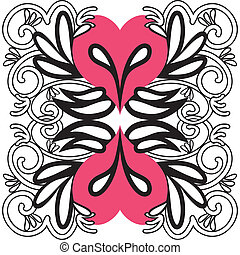 Hart, tribal design - Illustratie van een hart met vleugels
