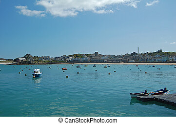 Hugh Town Harbour - looking across the harbour at hugh town,...