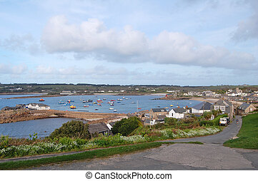 hugh town, st marys - view of hugh town and harbour on st...