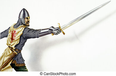 Middle age Ancient warrior with a sword, in action. On white...