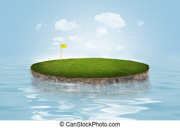 Water Golf Green - A golf green floating on water on blue...
