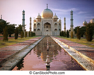 Taj Mahal at sunset time, view from front