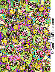 Stylized colorful natural pattern - Freehand drawing....