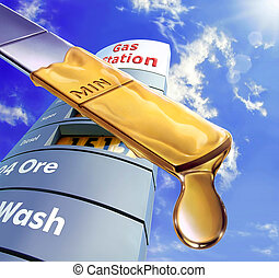 Close up of an engine dipstick, with an oil drop at the edge of it. Blue sky and fluffy clouds and a gas station sign in the background.