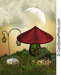 Fairy house in the garden with mushroom